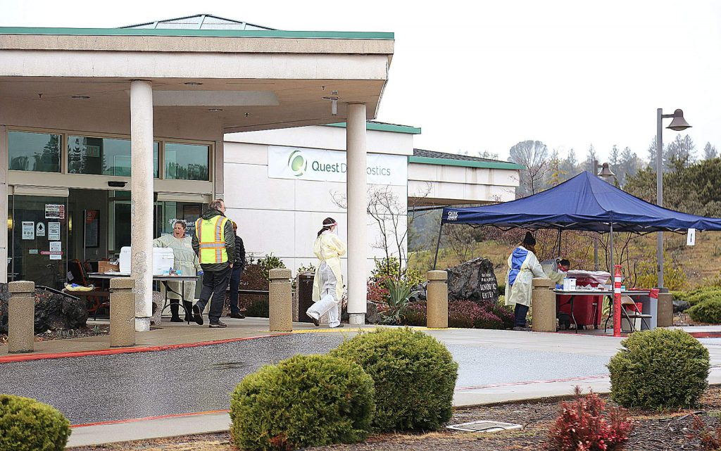 Sierra Nevada Memorial Hospital's diagnostic outpatient building is where the drive-up coronavirus testing is currently being offered.