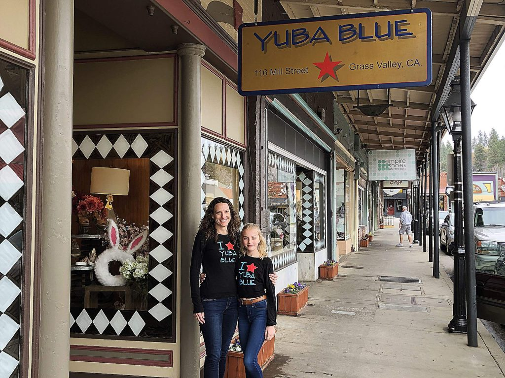Lillie Piland-Robertson, owner of Yuba Blue, with her daughter, Elle Piland. Yuba Blue developed a website to stay in business during the global pandemic.