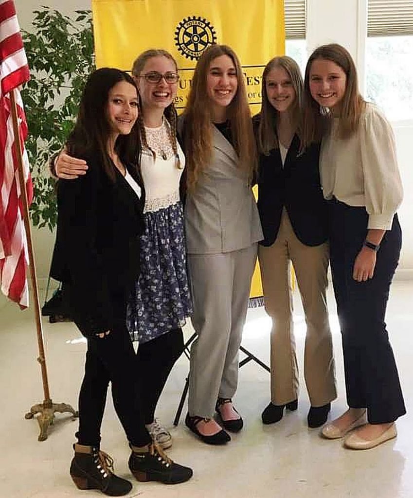 From left, finalists Maggie Aguilar-Diaz, Hannah West, Aubrey Teckam, Orma Jean Forest, and Vanessa Richards won their respective speech contests at the club level, then West won the regional competition hosted by all five western Nevada County Rotary Clubs.