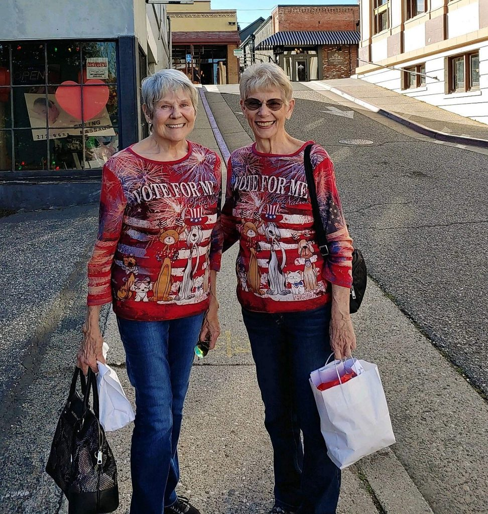 Daisy and Shirlie out looking for the vote in Nevada City.