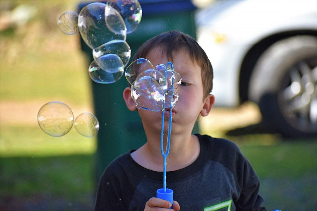Fun with bubbles.