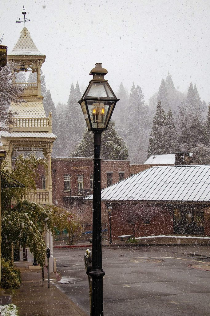 Snowy morning in Nevada City this morning.