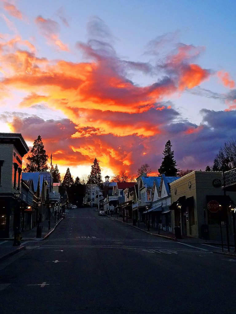 A very desolate Nevada City on the first day of Spring, 2020.