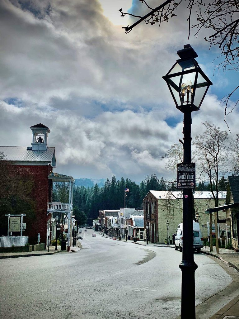 Downtown Nevada City at noon Sunday, March 29...empty.