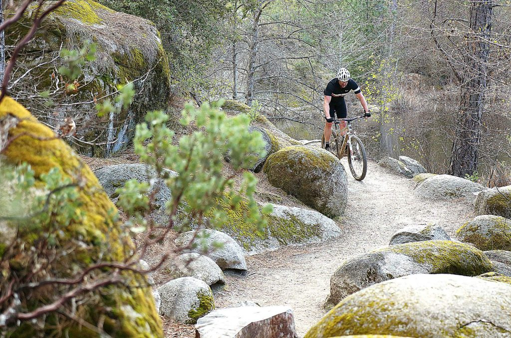 A cyclist takes advantage of mid March's pleasant temperatures and partly sunny skies to take to the Hirschman's Pond trail.