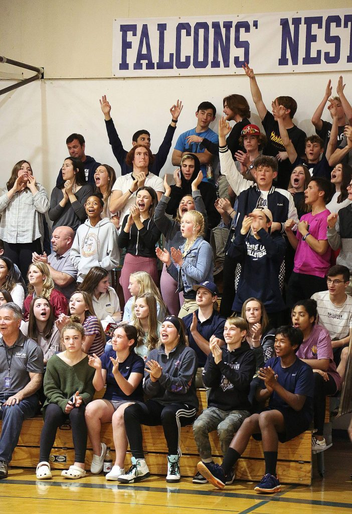 The Falcon's Nest home team rooting section showed full support for the Lady Falcons and their post season showing of dominance over the Credo Gryphons during the Falcon's final home game before their season was cut short due to coronavirus concerns.
