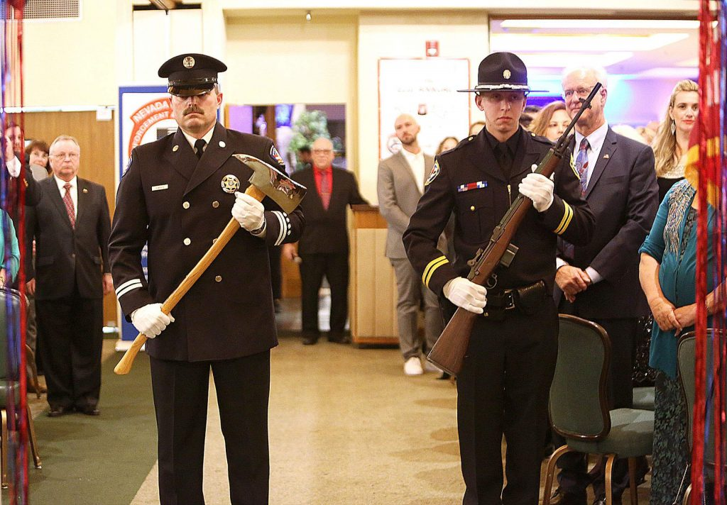 The Grass Valley honor guard helped to begin the evening's recognitions before dinner was served by the dining staff at the Alta Sierra Country Club.