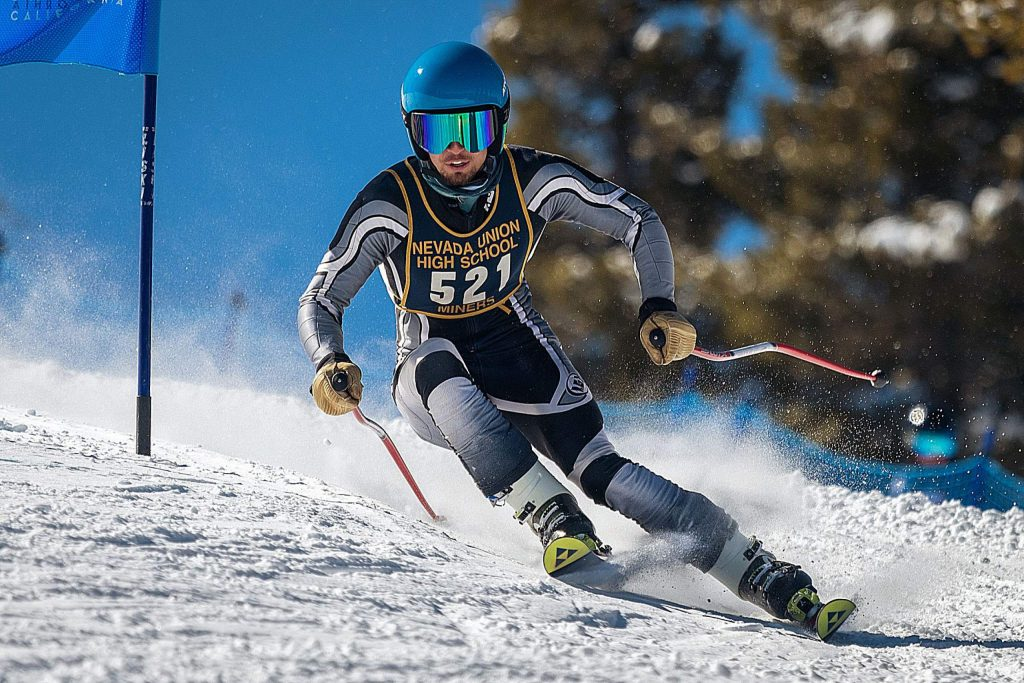 Nevada Union's Judah Good competed in both the slalom and giant slalom events at the CNISSF State Championships, placing 10th and 18th respectively.