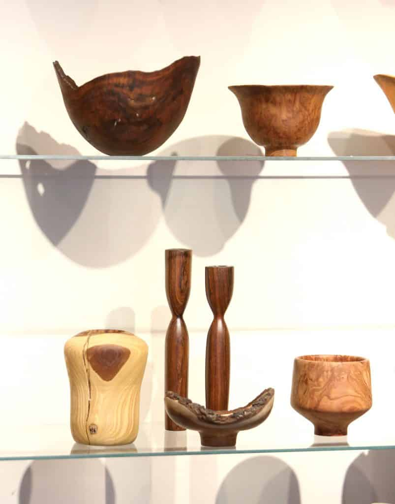 Some of Mike Snegg's bowls on display in his gallery.
