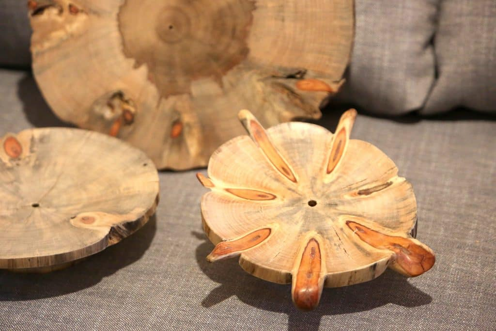 The symmetrical and circular growth pattern of the Norfolk Island Pine allows for Nevada City woodturner Mike Snegg to expose and emphasize on the many patters that can be created with the tree.