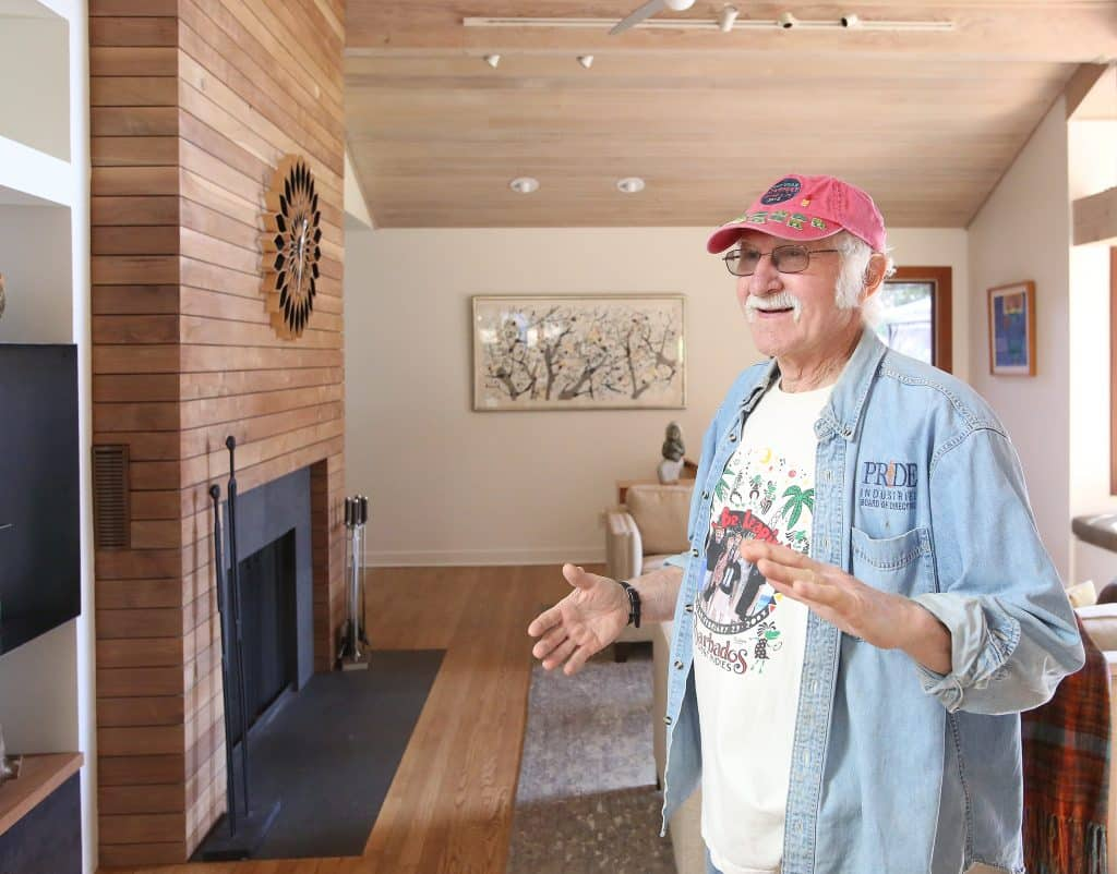 Nevada City woodturner Mike Snegg stands in his home that he remodeled years ago and was featured in a popular home and garden magazine.