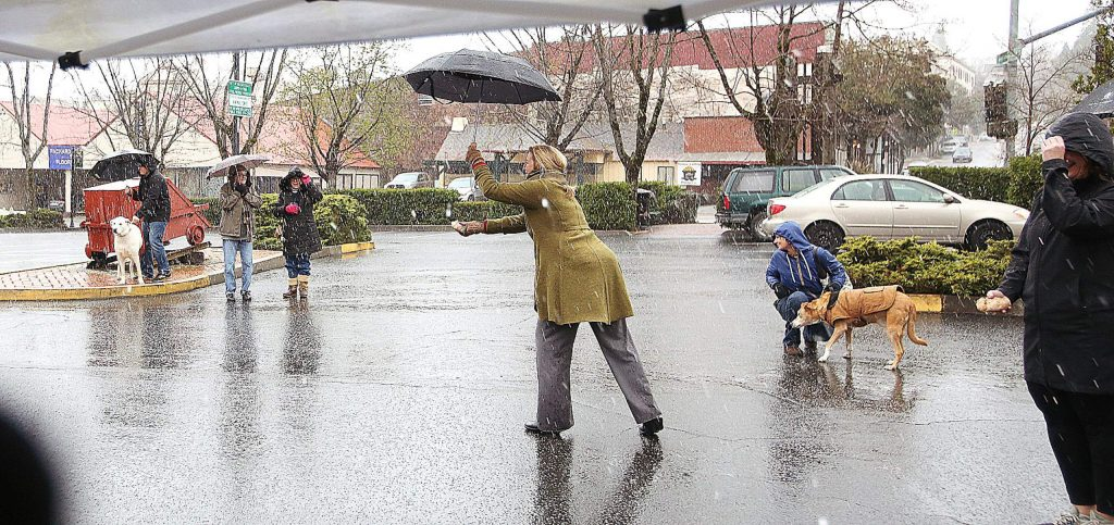 Nevada City Mayor Reinette Senum hits the flag right on the bullseye during the 20th annual St. Piran's Day Cornish Pasty Olympics.