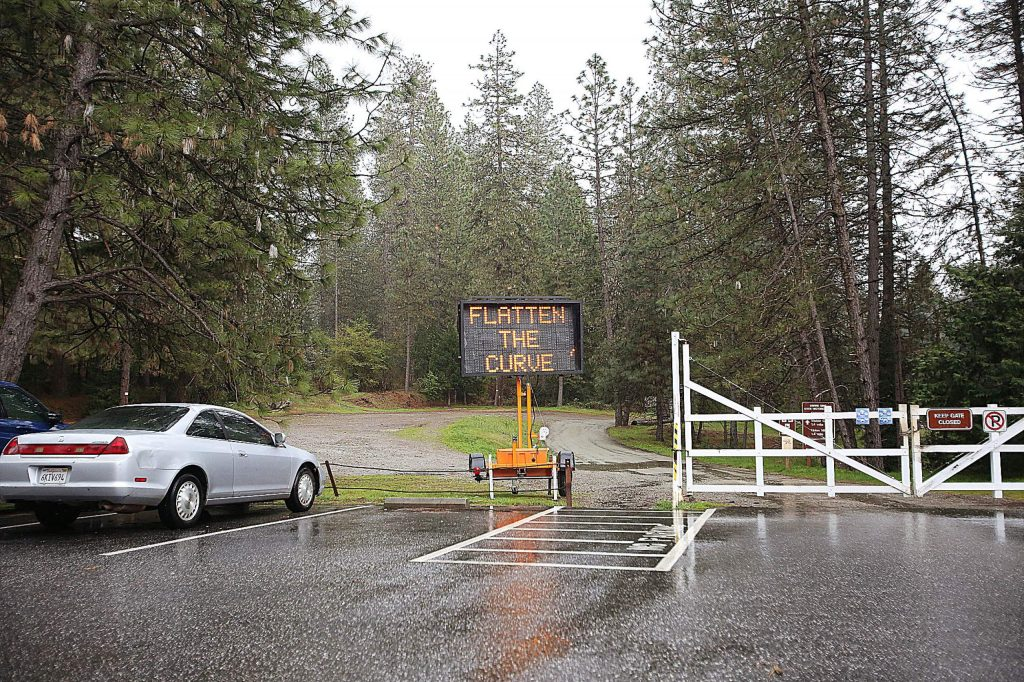 Visitors to Empire Mine State Historic Park in Grass Valley will find a closed main entrance as well as closed parking lots. Trails surrounding the main entrance are open.