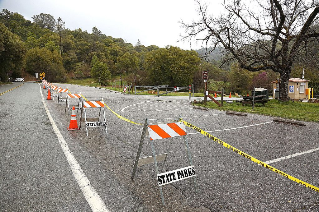 Parking options at the South Yuba River State Park at Bridgeport, have been greatly reduced after the main parking lot has been closed as of Saturday due to coronavirus concerns.