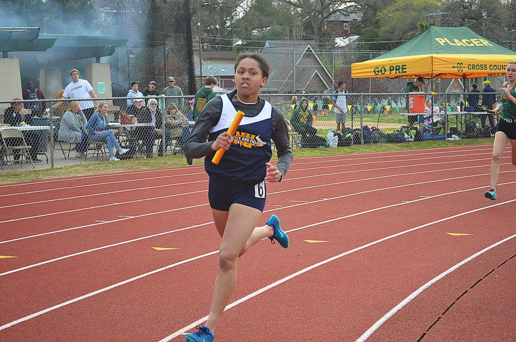 Nevada Union's Aijah King competes at the Le Febvre Relays at Placer High School.