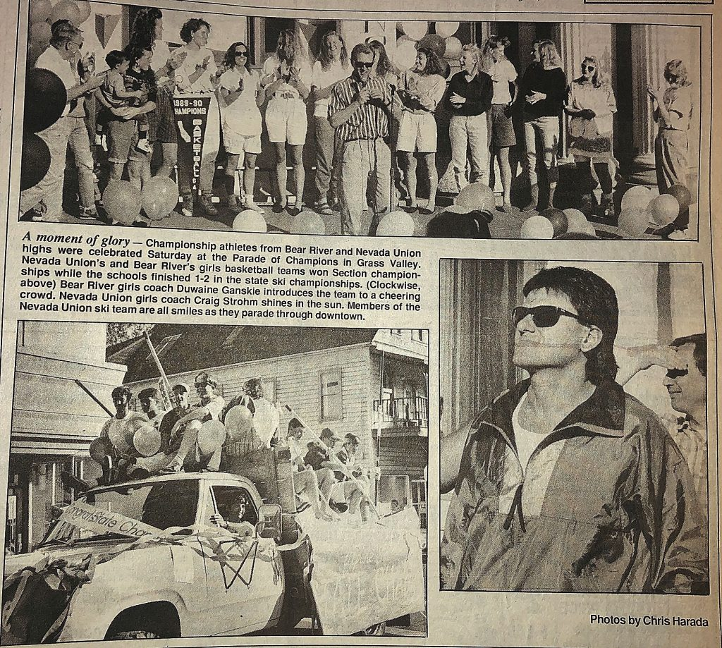 Section champion athletes from Nevada Union and Bear River were celebrated at the Parade of Champions in late March 1990 on Mill Street in Grass Valley.