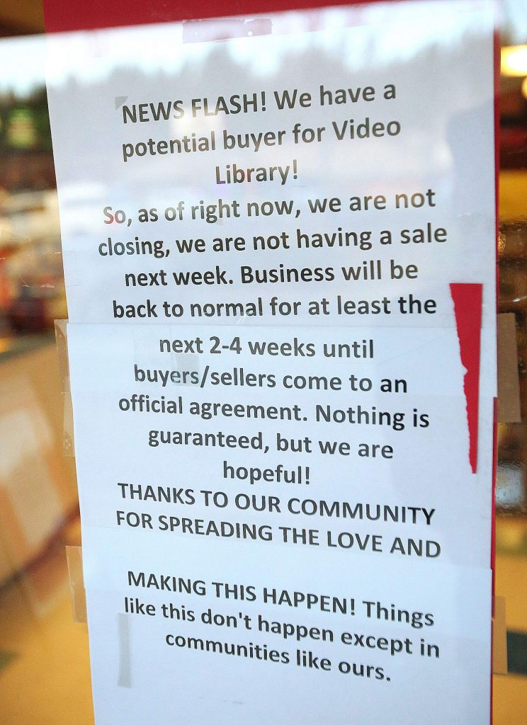 The liquidation sale signs have come down and a notice informing customers of the change in fate of Video Library is up.