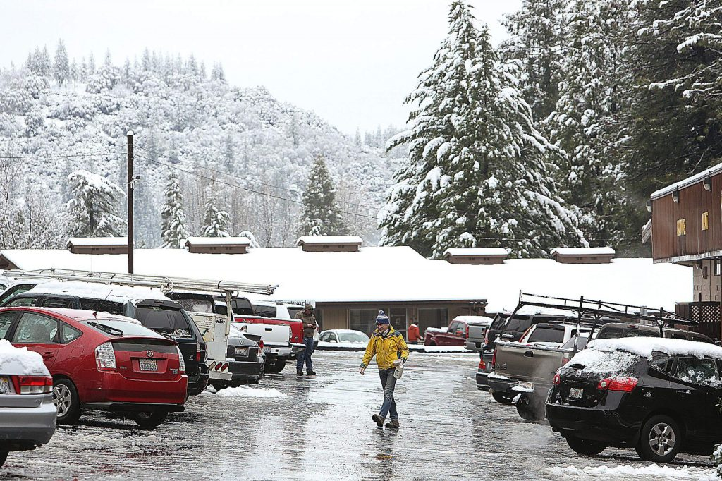 Shoppers take to SPD Market Monday morning in Nevada City.