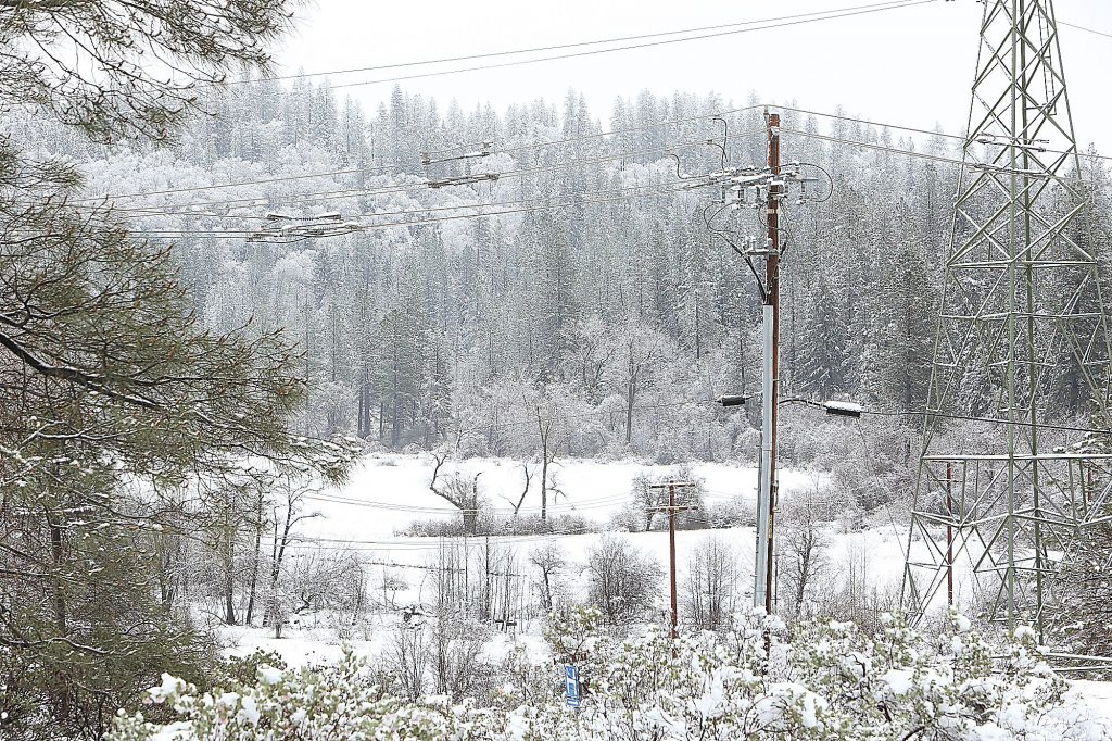 Sunday and Monday's fresh snowfall fills the open space between Idaho Maryland Road and the Glenbrook Basin.