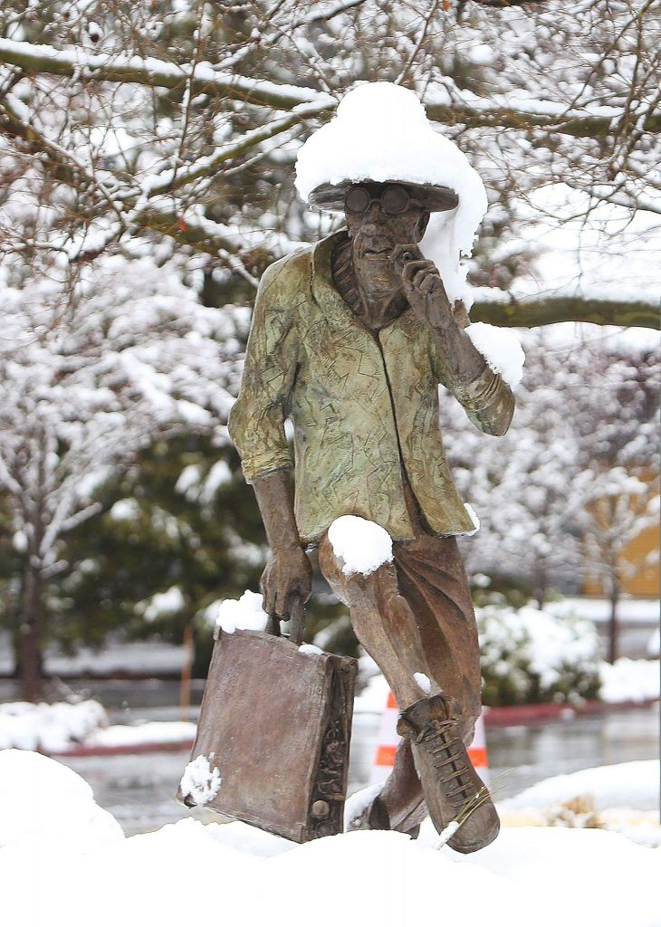 The Dr. Gonzo statue at the end of Argall Lane in Nevada City shows he's taken on some snow of his own Monday morning.