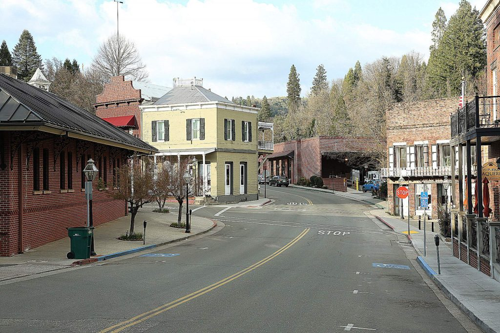 Downtown Nevada City was devoid of much traffic aside from the post office at the base of Coyote Street during an otherwise beautiful Saturday in the Sierra Nevada.
