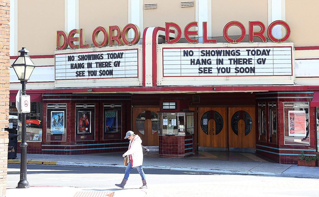 The streets of downtown Grass Valley and Nevada City were nearly ghost towns again as shelter in place orders due to the coronavirus have begun to stymie the economy as non essential businesses such as the Del Oro Theater, have shuttered.