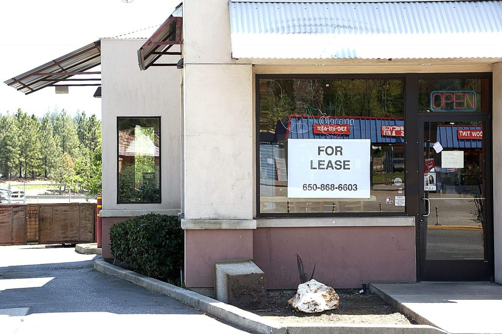 The former drive-thru window of Jimboy's Tacos in Grass Valley sits unused as the business has closed for good and the building has gone up for lease.