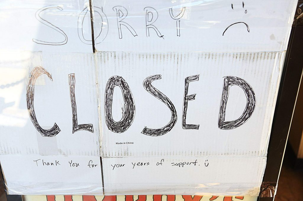 A sign placed inside of the front doors of Jimboy's Tacos in Grass Valley thanks patrons for their years of support.