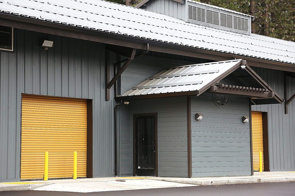 Roll up doors are reinforced with protective barriers to better serve the future cannabis business tenants at Lab Properties' cannabis campus off Searls Avenue in Nevada City.