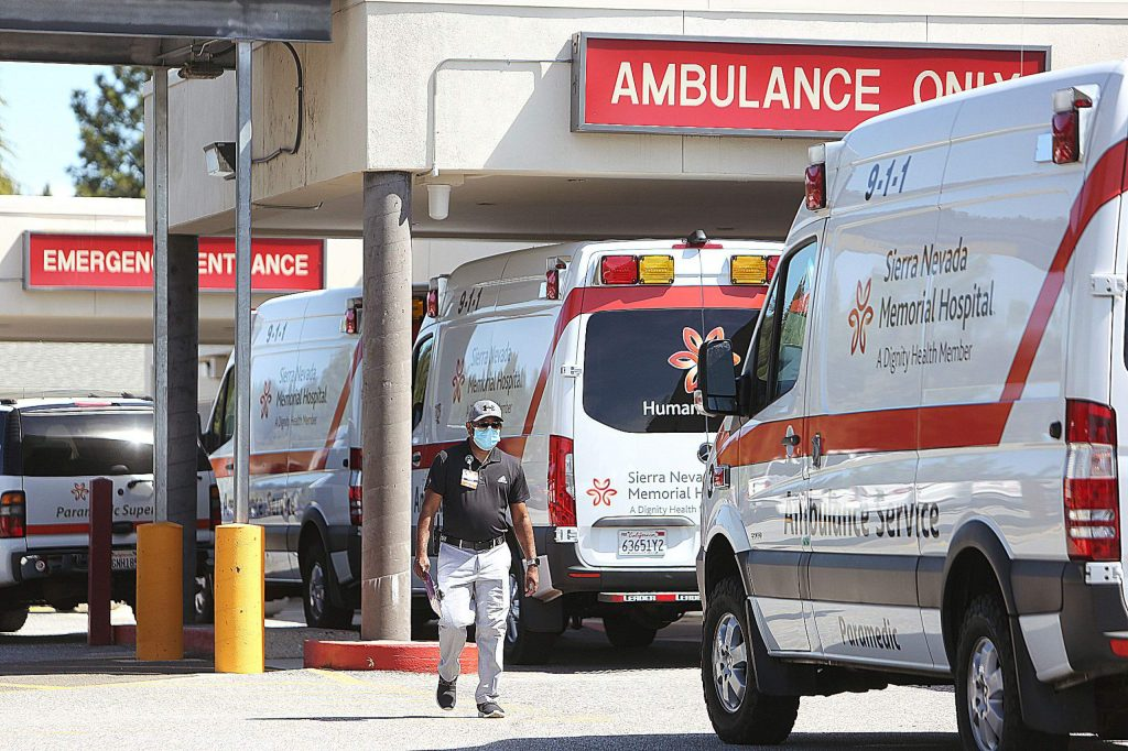 Sierra Nevada Memorial Hospital ambulances were used in Thursday's high surge COVID drill.