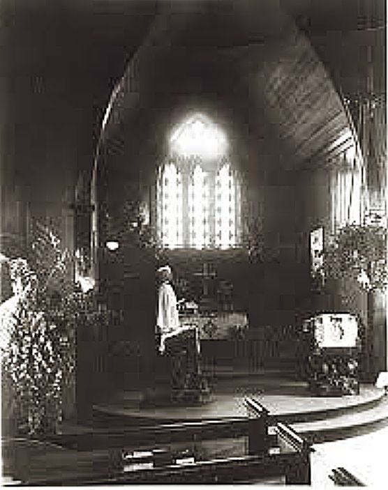 The Emmanuel Episcopal Church sanctuary on Church Street near the time Rev. Foster served in Grass Valley.