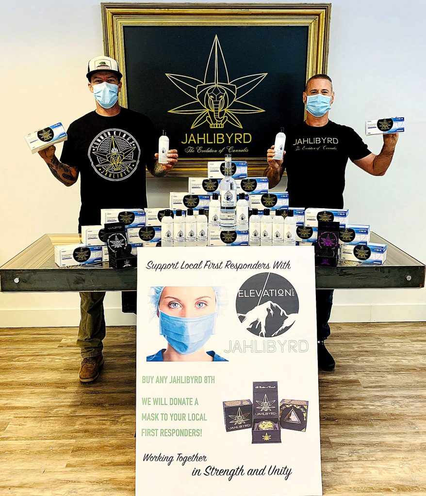 From left, Chris Anderson and Sky Rutherford. The two work at the cannabis business Jahlibyrd, and have been donating masks and other supplies to protect front line workers during the coronavirus pandemic.