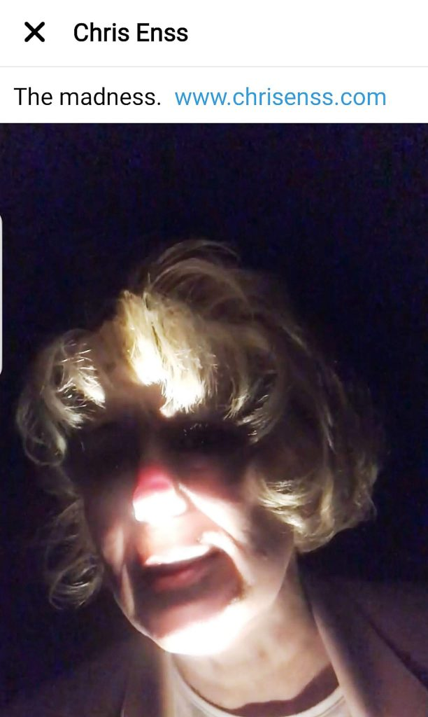 Author and comedienne Chris Enss by flashlight.