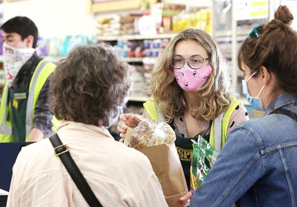 Baggers at SPD also wear masks as they interact with customers on a regular basis, including while helping them to their vehicles with their purchases.