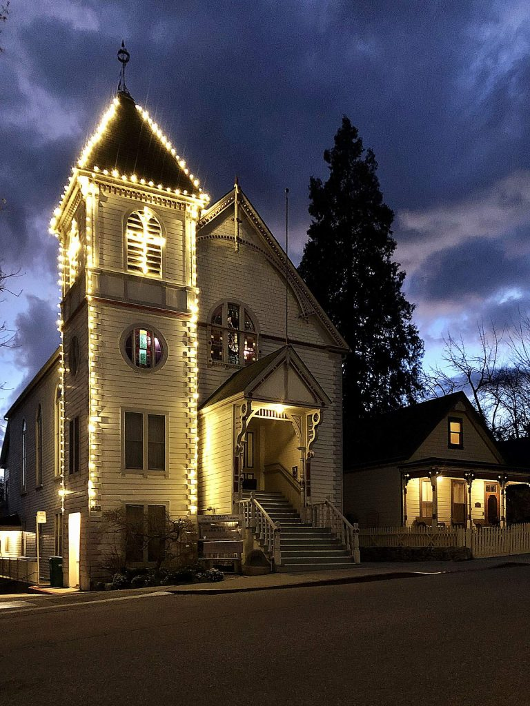 Our beautiful Methodist Church on top of Broad Street in Nevada City.