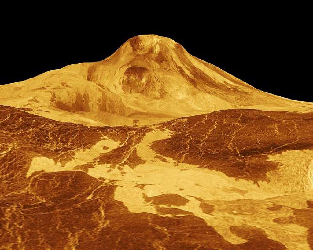 Using radar to look through the clouds, the spacecraft Magellan saw this volcano on Venus.
