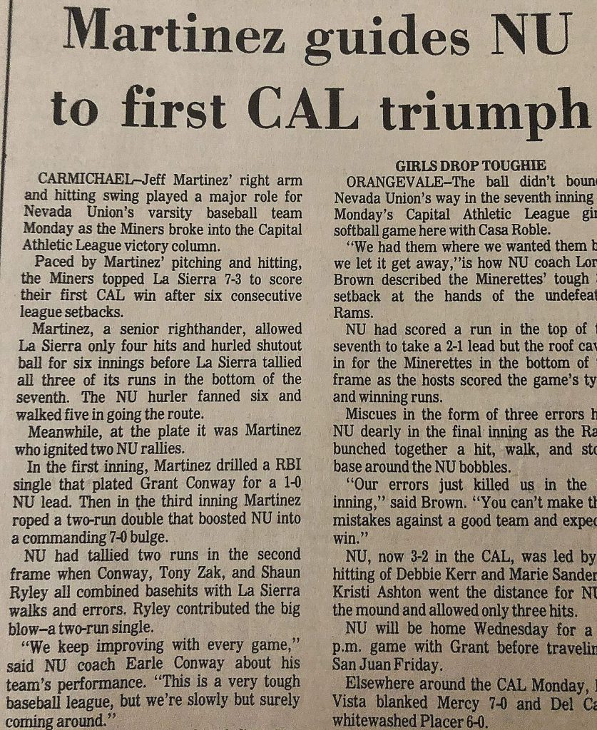 The Union clipping from the sports pages, circa April 1983.