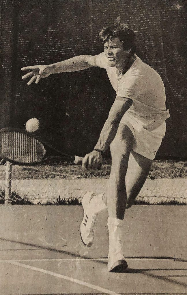 Nevada Union's Randall Hensley returns a shot during a 1983 match.
