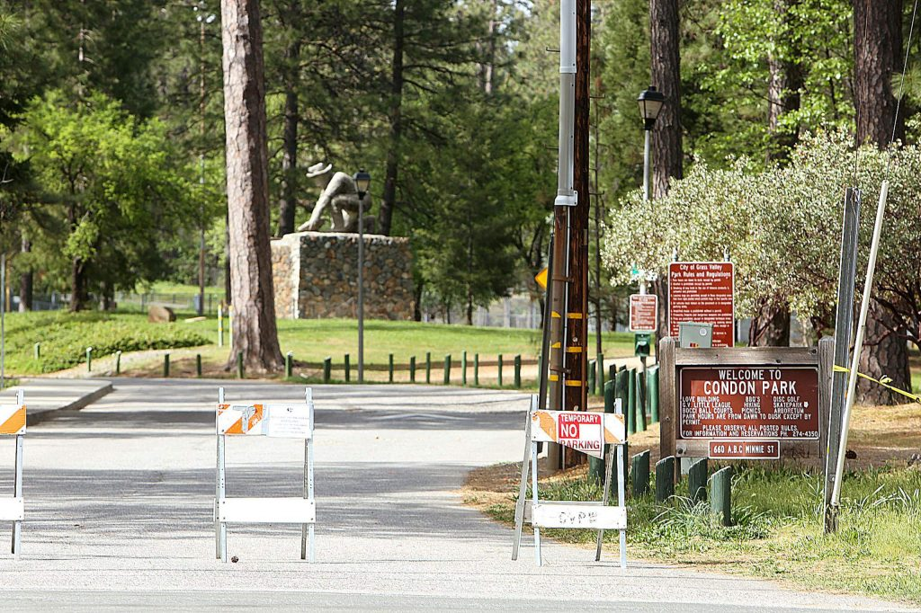 Parking and vehicle access is still closed at both Condon Park in Grass Valley and Pioneer Park in Nevada City.