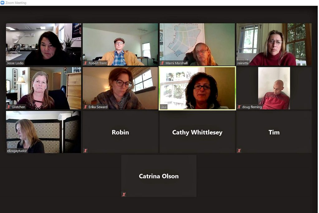 Rebound Nevada County has weekly meetings via Zoom. This screenshot is from a May 12 meeting.