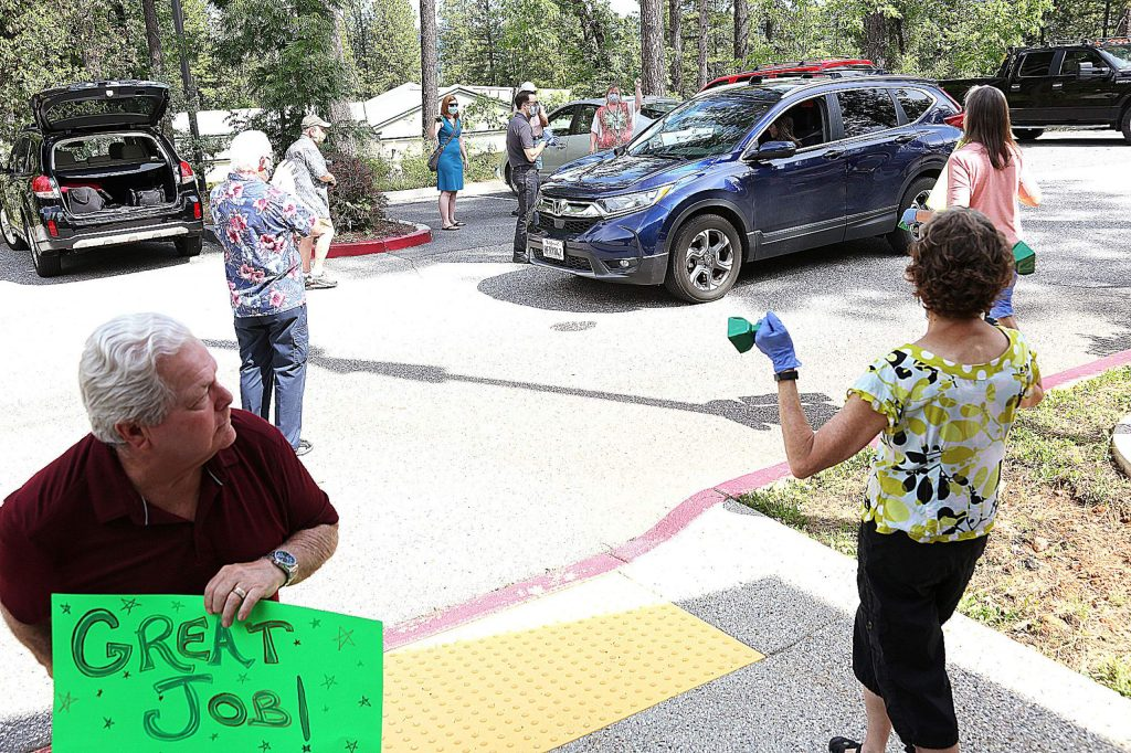 Save Our Bridge members help to congratulate the student art winners Friday at the Nevada County Superintendent of Schools office.