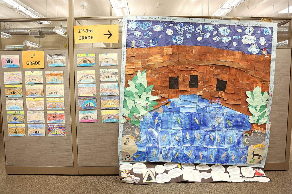 Williams Ranch Elementary School second and third graders created a mural formed out of many smaller pieces of material.