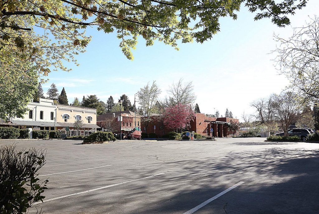As more and more downtown Grass Valley businesses are opening, parking lots like the City Hall lot, have slowly been regaining their usual visitors since this photo was taken three weekends ago.