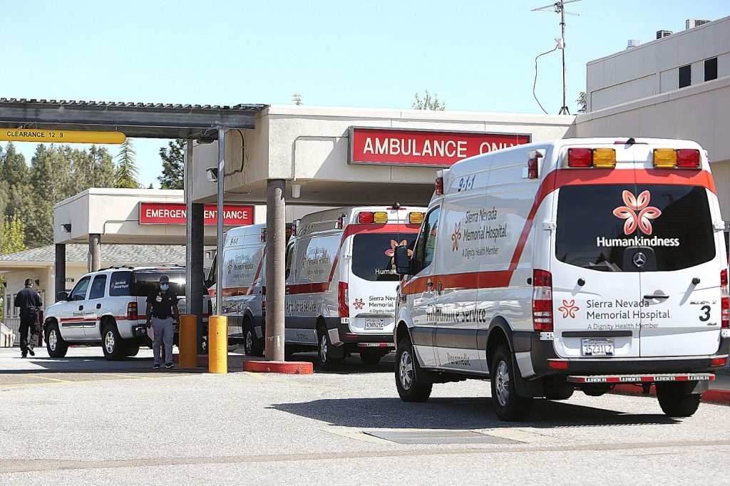 Sierra Nevada Memorial Hospital ambulances sit ready to respond, helping to bring patients to the emergency room as well as to other hospitals depending on the situation.
