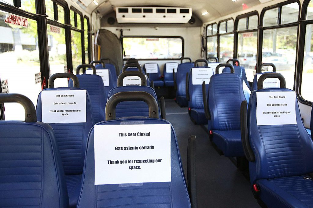 In order to help aid in social distancing, signs denoting closed seats are strategically placed among the seating of Gold Country Stage buses operating in the county.