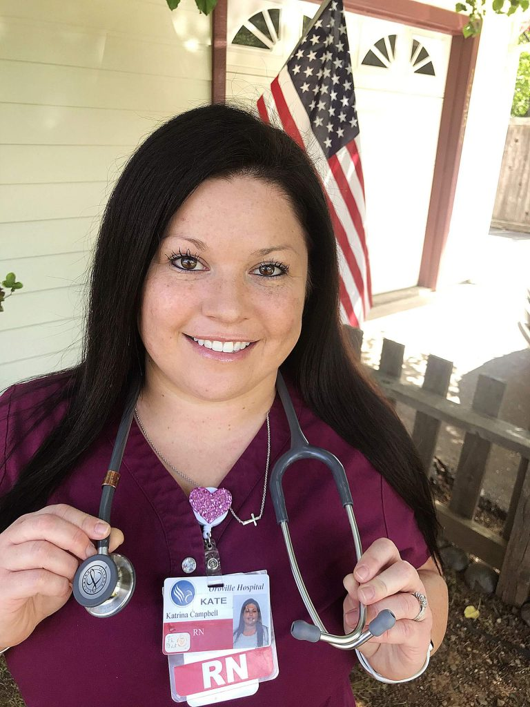 """Penn Valley resident Katrina """"Kate"""" Campbell, R.N., works night shifts at Oroville Hospital. While grateful for the recognition of being a nurse, Campbell said, """"I want to thank all the CNAs, LVNs, unit clerks, environmentalists, and maintenance staff that support the nurses in their jobs. I know I wouldn't be able to perform my job without … the supportive staff around me."""""""