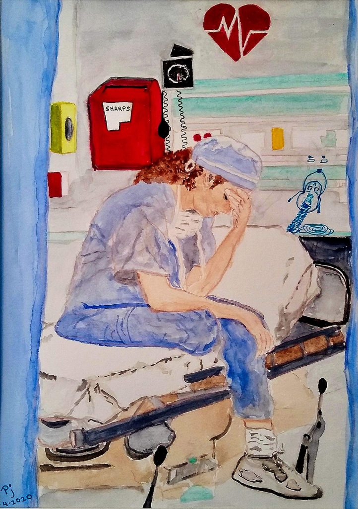 """The watercolor """"Between Shifts"""" painted by retired nurse Pamela Marsh, shows an exhausted nurse sitting on empty bed, head bowed. She's having a bad day."""