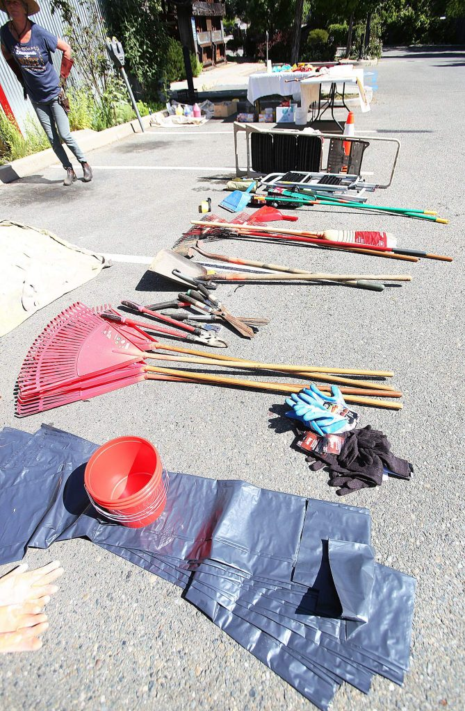 Implements of beautification await volunteers to use them during Friday morning's spring clean day in Nevada City.