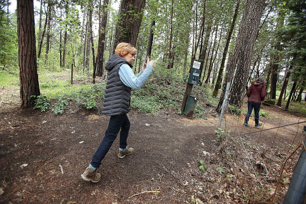 Deer Creek Southside Firewise community members show the areas of trail that have been relieved of their fire danger last week off Reward Street in Nevada City. The group is especially concerned about the possibility of fire coming into Nevada City from the Deer Creek drainage.