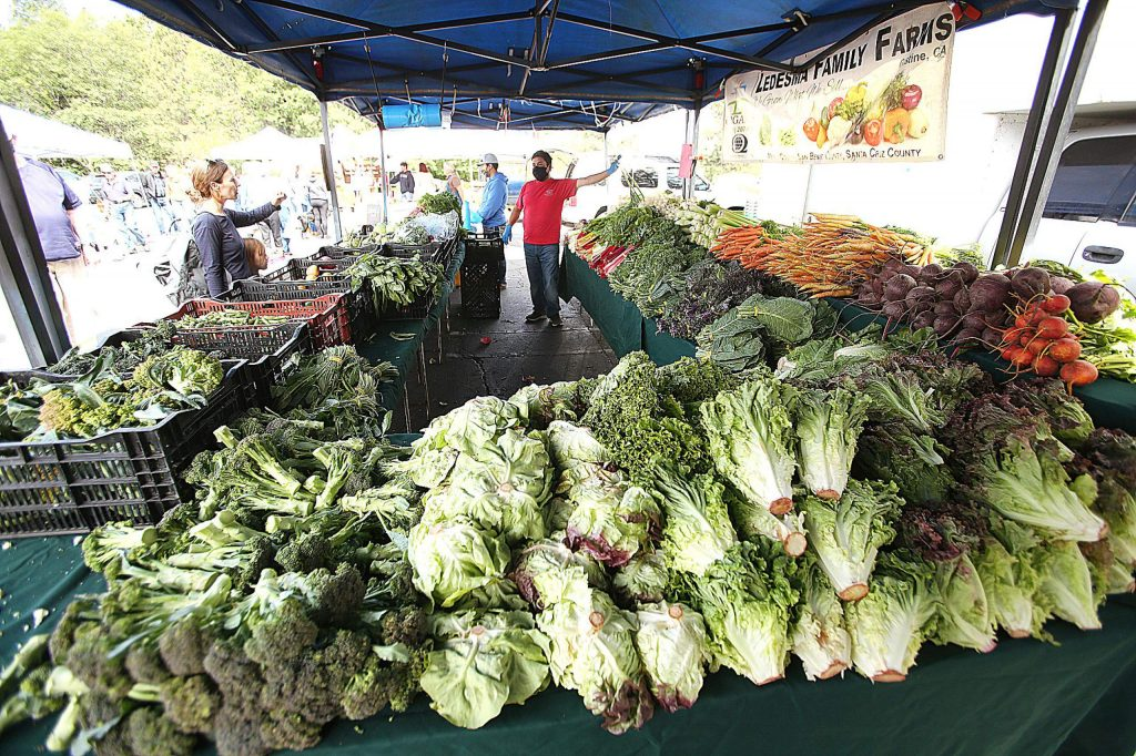 Ledesma Family Farms from Santa Cruz County was on hand during Saturday's Grass Valley Farmers' Market, with mounds of fresh vegetables for sale in the McKnight Shopping Center parking lot.